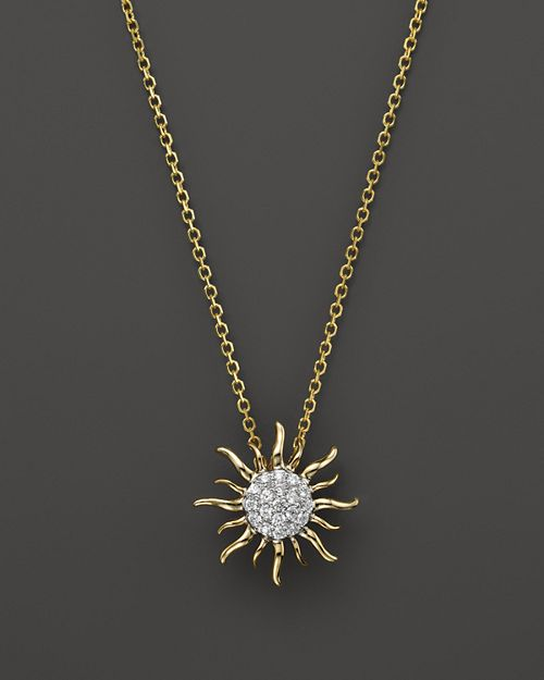 Bloomingdale's - Diamond Sun Pendant Necklace in 14K Yellow Gold, .10 ct. t.w.- 100% Exclusive