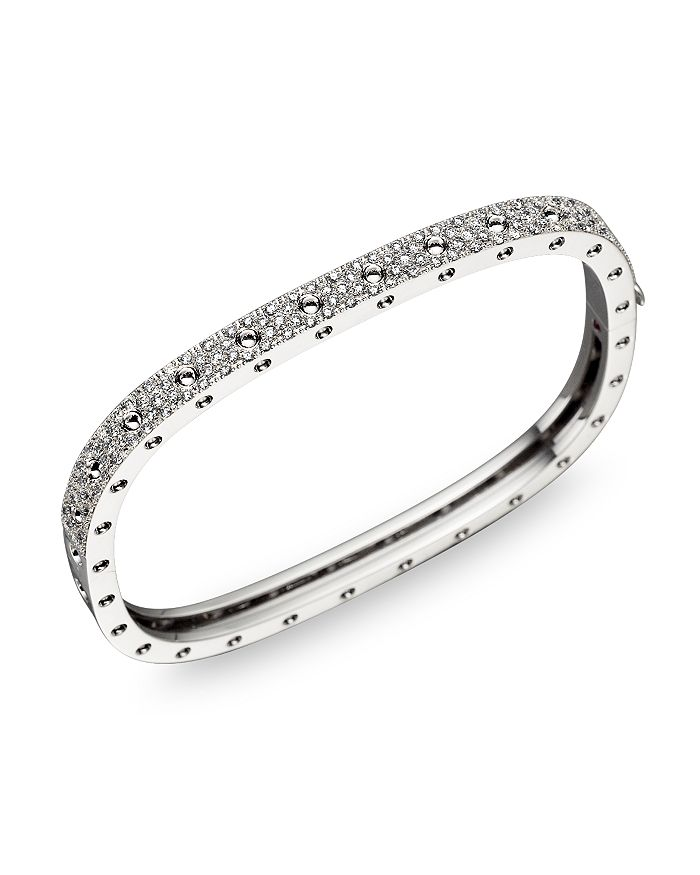 Roberto Coin - 18K White Gold and Diamond Pois Moi Single Bangle, 1.35 ct. t.w.