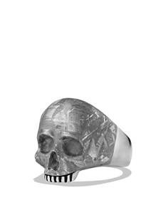 David Yurman - Skull Ring with Carved Meteorite