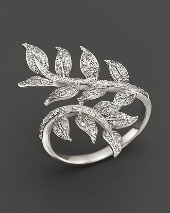 Bloomingdale's - Diamond Leaf Ring in 14K White Gold, .50 ct. t.w. - 100% Exclusive