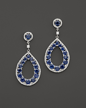 Sapphire and Diamond Teardrop Earrings in 14K White Gold - 100% Exclusive