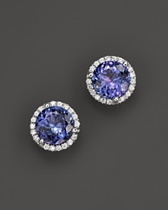 Tanzanite and Diamond Halo Stud Earrings in 14K White Gold - 100% Exclusive - Bloomingdale's_0