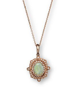 "Bloomingdale's - Opal and Diamond Antique Inspired Pendant Necklace in 14K Rose Gold, 16"" - 100% Exclusive"