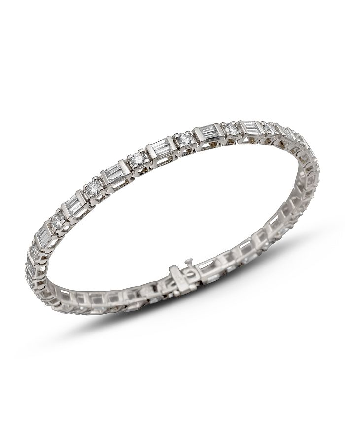 Bloomingdale's - Diamond and Baguette Bracelet in 14K White Gold, 3.0 ct. t.w.- 100% Exclusive
