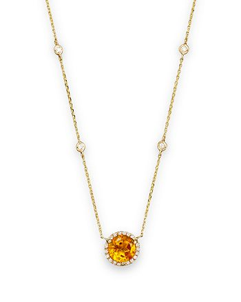 """Bloomingdale's - Citrine and Diamond Halo Pendant and Station Necklace in 14K Yellow Gold, 16"""" - 100% Exclusive"""