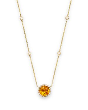 Citrine and Diamond Halo Pendant and Station Necklace in 14K Yellow Gold, 16 - 100% Exclusive
