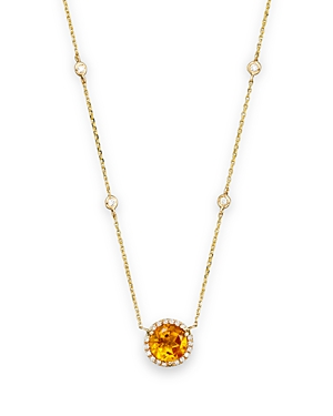 Citrine and Diamond Halo Pendant Necklace with 4 Stations in 14K Yellow Gold, 16 - 100% Exclusive