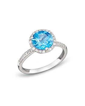 Bloomingdale's - Gemstone and Diamond Halo Ring in 14K Gold - 100% Exclusive