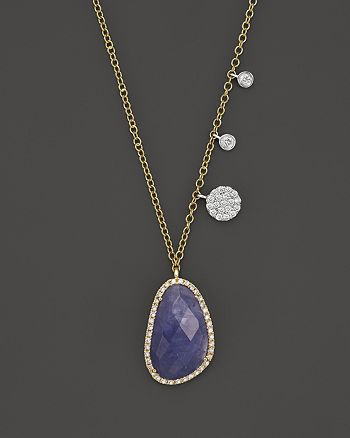 Meira T - 14K Yellow and White Gold Tanzanite and Diamond Necklace, 16""