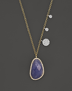 Meira T 14K Yellow and White Gold Tanzanite and Diamond Necklace, 16