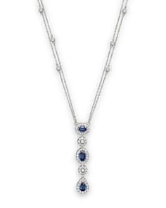 Bloomingdale's - Blue Sapphire and Diamond Station Pendant Necklace in 14K White Gold, .90 ct. t.w. - 100% Exclusive