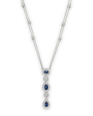 Sapphire and Diamond Station Pendant Necklace in 14K White Gold, 16 - 100% Exclusive