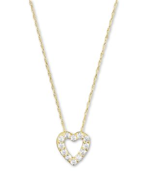 Diamond Heart Pendant Necklace in 14K Yellow Gold, .25 ct. t.w.