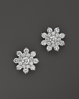 Diamond Cluster Star Stud Earrings in 14K White Gold, 1.70 ct. t.w. - 100% Exclusive