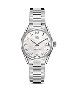 TAG Heuer Carrera Stainless Steel and White Mother of Pearl Dial Watch with Diamonds, 32mm - Bloomingdale's_0