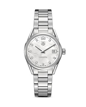 TAG Heuer - TAG Heuer Carrera Stainless Steel and White Mother of Pearl Dial Watch with Diamonds, 32mm