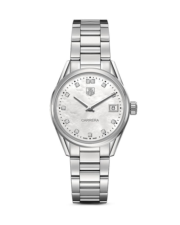 TAG Heuer - Carrera Stainless Steel and White Mother of Pearl Dial Watch with Diamonds, 32mm