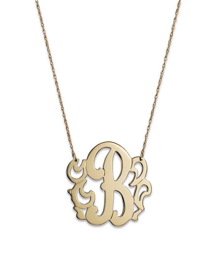 "Jane Basch - 14K Yellow Gold Swirly Initial Pendant Necklace, 16"""