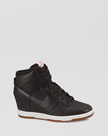 Nike - Lace Up High Top Wedge Sneakers - Women's Dunk Sky Hi Embossed