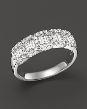 Diamond Baguette and Round Band Ring in 14K White Gold, .75 ct. t.w. - 100% Exclusive