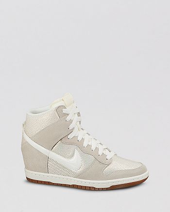 Nike Lace Up High Top Wedge Sneakers - Women s Dunk Sky Hi Embossed ... 308583e34cd0