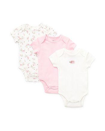 Little Me - Girls' Rose Bodysuits, 3 Pack - Baby