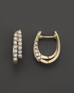 Diamond Double Row Hoop Earrings in 14K Yellow Gold, .50 ct. t.w.