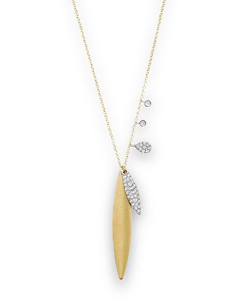 """Meira T - 14K Yellow Gold Verticle Pendant Necklace with Diamonds, 16"""""""