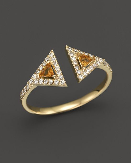 Bloomingdale's - Citrine and Diamond Geometric Ring in 14K Yellow Gold- 100% Exclusive