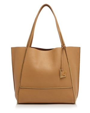Soho Heavy Grain Pebbled Leather Tote in Camel/Gold