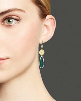 Meira T - 14K Yellow Gold Opal Elongated Earrings