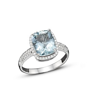 Bloomingdale's - Aquamarine and Diamond Ring in 14K White Gold- 100% Exclusive