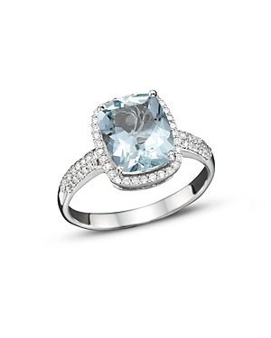 Aquamarine and Diamond Ring in 14K White Gold - 100% Exclusive