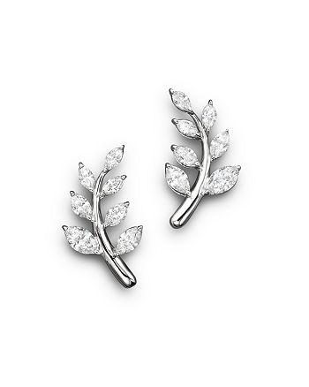 Bloomingdale's - Diamond Leaf Earrings in 14K White Gold, 1.45 ct. t.w. - 100% Exclusive