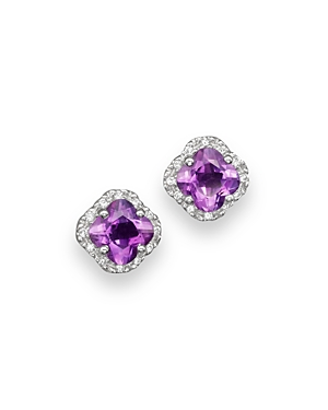 Amethyst and Diamond Stud Earrings in 14K White Gold - 100% Exclusive