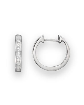 Diamond Channel Set Hoop Earrings In 14K White Gold, .25 Ct. T.W.