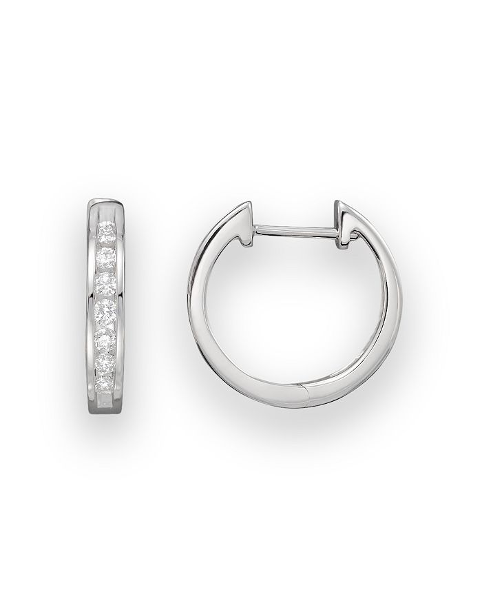 Bloomingdale's - Diamond Channel Set Hoop Earrings in 14K White Gold, .25 ct. t.w. - 100% Exclusive