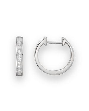 Diamond Channel Set Hoop Earrings in 14K White Gold, .25 ct. t.w.