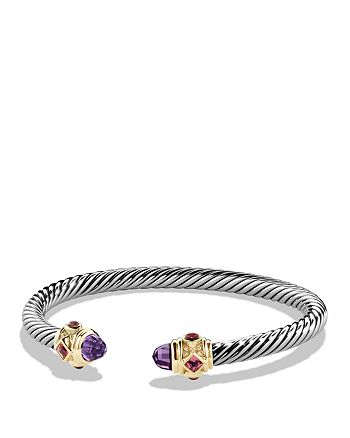 David Yurman - Renaissance Bracelet with Amethyst, Pink Tourmaline, Rhodalite Garnet in 14K Gold