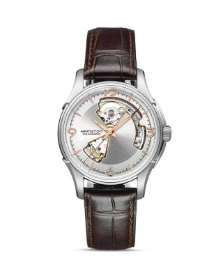 JAZZMASTER OPEN HEART AUTOMATIC LEATHER STRAP WATCH, 40MM