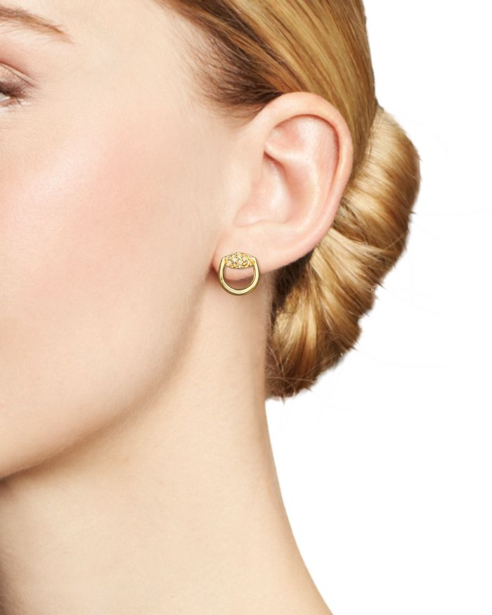 45bba5897 Gucci 18K Yellow Gold Horsebit Stud Earrings with Brown Diamonds ...