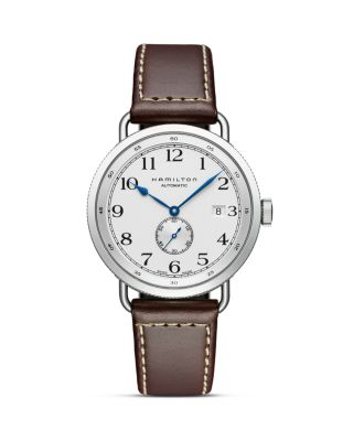 HAMILTON Khaki Navy Pioneer Leather Strap Watch, 40Mm in Brown/ White/ Silver