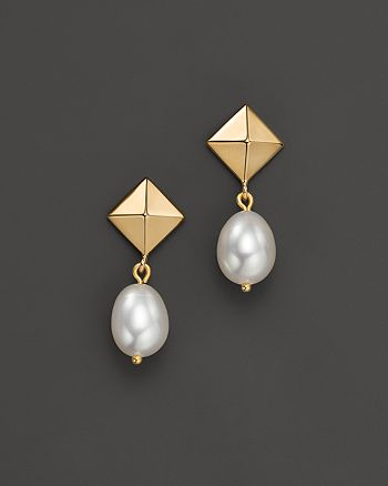 Bloomingdale's - Cultured Freshwater Pearl Pyramid Earrings in 14K Yellow Gold, 8mm- 100% Exclusive