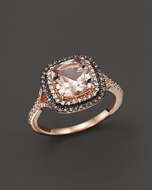Morganite, White Diamond and Brown Diamond Ring in 14K Rose Gold - 100% Exclusive