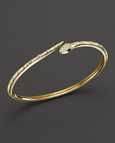 Bloomingdale's - Black and White Diamond Snake Bracelet in 14K Yellow Gold - 100% Exclusive