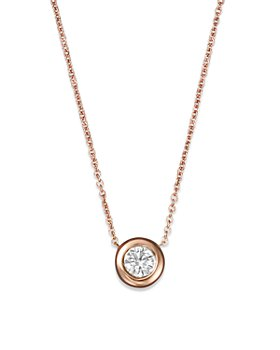 Roberto Coin - Roberto Coin 18K Rose Gold and Diamond Bezel Necklace, 16""