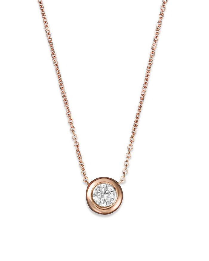 """Roberto Coin - Roberto Coin 18K Rose Gold and Diamond Bezel Necklace, 16"""""""