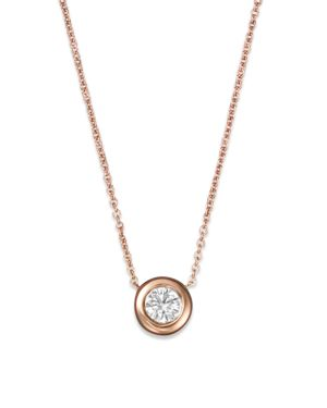 Roberto Coin 18K Rose Gold and Diamond Bezel Necklace, 16