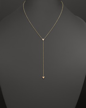 "Zoë Chicco - Zoë Chicco 14K Gold 2-Triangle Lariat Necklace with Single Diamond, 16"" - 100% Exclusive"