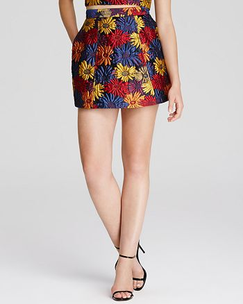 Alice and Olivia - Loran Floral Jacquard Mini Skirt